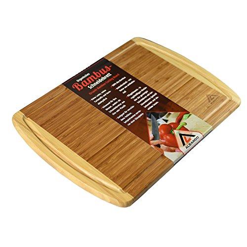 ALBARGO - Bio Bambus Schneidebrett - natürlich & messerschonend | Holzschneidebrett Brotschneidebrett Abdeckplatte Küchenbrett Servierbrett Schneideunterlage Nudelbrett Tranchierbrett mit Saftrille
