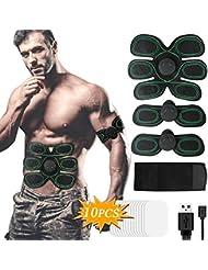 EMS Muscular y Masajeador, X-EUCO Electroestimulador Portátil Masajeador Abdominal USB Recargable 10 Niveles
