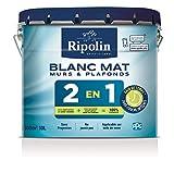 Ripolin Peinture Blanche pour Murs & Plafonds avec sous-Couche Intégrée, Mat, Blanc 10L