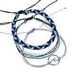 Pulseras para mujer, Winkey 3pcs/set Bohemia plata ondas tobilleras pulseras para mujer cuerda playa tobillera joyería 21cm*8cm azul