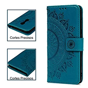 Funda Xiaomi Redmi 5 Plus, Carcasa Libro Piel de Cuero con Tapa Flip Case, Cover PU Leather Con TPU Case Interna Suave, Soporte Plegable, Ranuras para Tarjetas y Billetera Atrapasueños Color Azul
