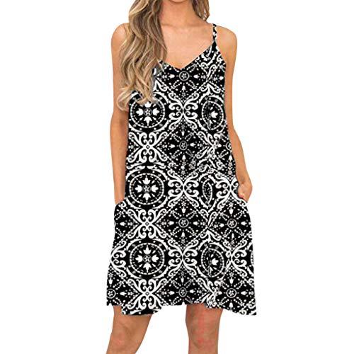 llos Drucken Sommerkleider Vest Kleid mti Taschen Casual V-Ausschnitt Träger Freizeitkleid Strandkleid ()