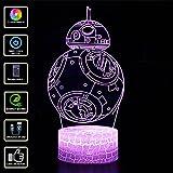 3D Illusion Lampe NHSUNRAY 7 couleurs Changement Optique Tactile Lumière USB et Télécommande Art Déco Faites Une Ambiance Romantique cadeau d'anniversaire de Noël Saint Valentin (BB-8)