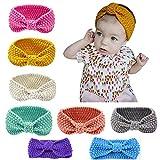 Lot de 8 des bandeaux de la laine de cheveux pour bébés, Lomire serre-tête élastique d'un style du nœud pour les petites filles - accessoires mignons pour bébés ou petites filles, couleur random