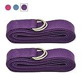 Lot de 2sangles de yoga extra longues Coton durable Bouche réglable avec anneau en...