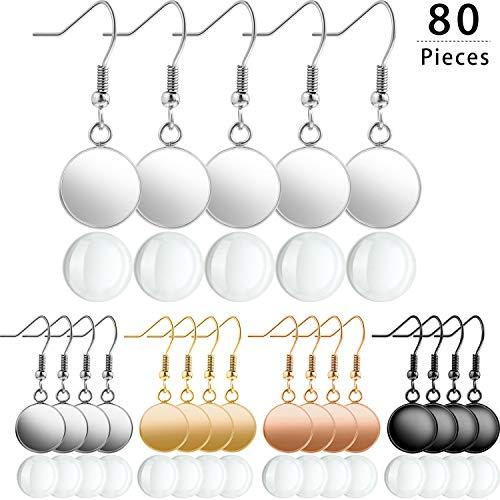 40 Stücke 5 Farben Ohrring Draht Haken 12mm Runde Post Cup Tray Ohrring und 40 Stücke 11,5 mm Glas Cabochons für DIY Schmuckherstellung