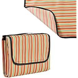 [casa.pro]® Manta de pícnic XXL - 200x190cm - mantel - parte inferior resistente al agua, con asa - de rayas rojas y amarillas