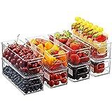1 pc Stapelbar plast matförvaring soptunnor kylskåpsförvaring med handtag för skåp klar plast matförvaring köksskåp bärbar fö