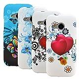 zkiosk 2550 Blumen Herz Schmetterling Design Auswahl 11 Silikon Schutzhülle für HTC One M8 Mini (4-er Pack) blau/schwarz/rot/weiß
