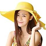 Kakaforsa Capeline de Paille Pliable Chapeau de Soleil Large Bord Antisolaire et Anti-UV Capeline de Plage pour Femme Fille