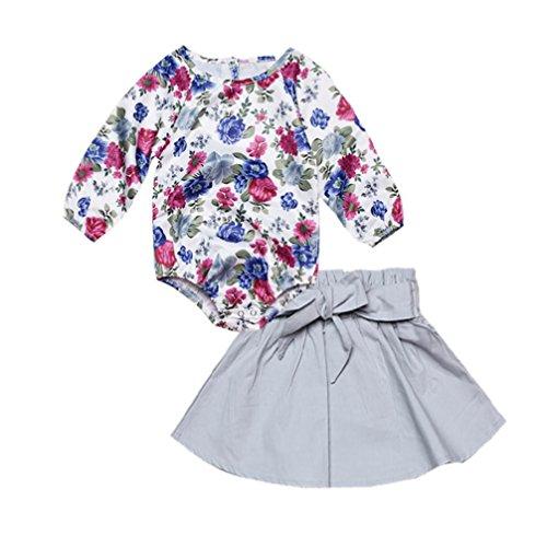 Pink Katze Hot Kostüm (Bekleidung Longra Kleinkind Kinder Baby Mädchen Outfits Kleider mit Blumen Romper Tops + Bowknot Rock Set Mädchen Langarm Kleid (0-3Jahre) (80CM 18Monate, Hot)