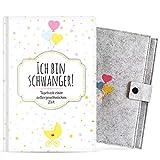 Ich bin schwanger! • Schwangerschaftstagebuch zum selber eintragen • Mit GRATIS Schutzhülle • Hardcover Tagebuch für die Schwangerschaft • Schönes Erinnerungsbuch für Ihr Baby