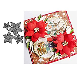 21sandwhick Poinsettia Flower Metal Cutting Dies, Stencil En Relieve, DIY Scrapbook En Relieve Plantilla De Tarjetas De Papel Plata