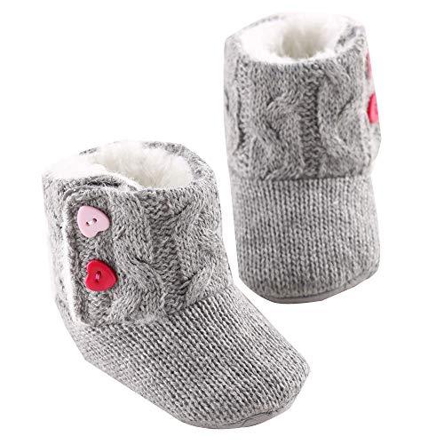 Babyschuhe Winter Weiche Sohle Krippe Warme Taste Wohnungen Krabbelschuhe Baumwolle Boot Kleinkind Prewalker Schuhe Moginp(0-6 Monate,Gray) -