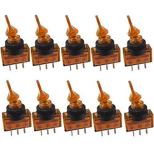 E Support™ 10 X KFZ Kippschalter Schalter Wippschalter 12V 20A Gelb LED Licht Beleuchtet 3-Polig SPST Pole EIN/AUS