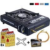 2in1 Gaskocher Campingkocher mit 8 Gaskartuschen 2,3 KW + Gasherdkreuz + Gasschlauch + Koffer (Farbe Schwarz, Rot, Blau oder Grau)