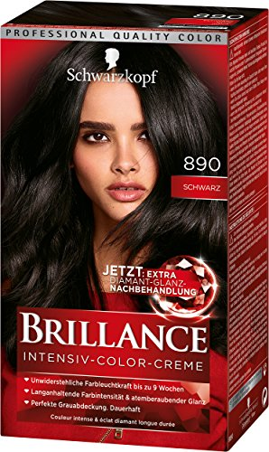 Schwarzkopf Brillance Intensiv-Color-Creme, 890 Schwarz Stufe 3, 3er Pack (3 x 143 ml)