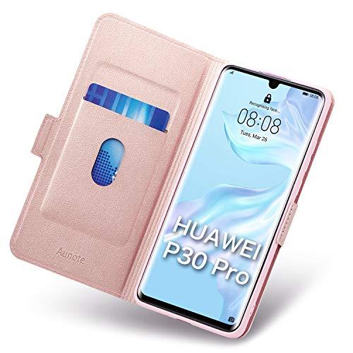 Aunote Huawei P30 Pro Hülle, Huawei P30 Pro Schutzhülle, P30 Pro 6,5 Zoll Leder-Etui aus Leder Folio-Hülle Schutzhülle PU + TPU Soft Shockproof Flip Cover und Ständer mit Kartenhalter (Rose Gold) Deluxe Soft Case