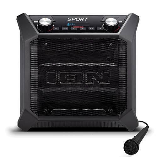 ION Audio Sport Altoparlante per Esterno, Impermeabile, da 50 W, Batteria a Lunga Durata, Porta di Alimentazione USB, Nero