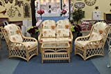 Cottage Cane Conservatory Furniture 3 Piece Suite - 2 Chairs and a Sofa - Natural Colour Cane - Poppies Fabric
