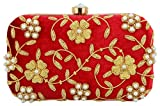 Tooba Handicraft Party Wear Hand Embroidered Box Clutch Bag Purse For Bridal, Casual, Party , Wedding ( red pearl zari 6x4 )