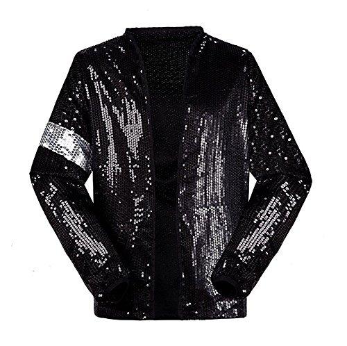 Billig Erwachsene Tanz Kostüm Für - Shuanghao Michael Jackson Kostüm Jacke Hosen für Erwachsene Kind Billie Jean Jacke Tanz Cosplay Schwarz (W:16.5kg-19kg H:100-110cm, Kinderjacke)