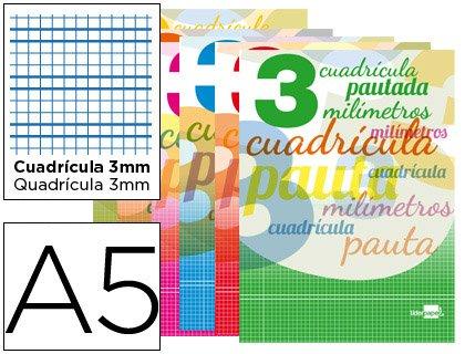 Preisvergleich Produktbild Oxford–Notizbuch LIDERPAPEL pautaguia Deckel Karten 32Blatt DIN A570g kariert liniert 3mm mit Rand (10Stück)