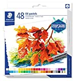 Staedtler Pastels à l'huile de qualité professionnelle, Pour dessin et peinture, Étui carton avec 48 couleurs intenses assorties, 2420 C48