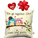 indibni Cute Love Couple Gift Valentine Together Couple Cushion Cover 12x12 with Filler - White for Boyfriend Girlfriend Him Her