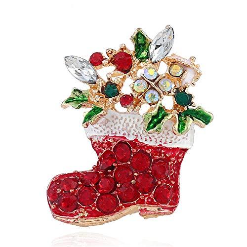 Ju-sheng Frauenbrosche Santa Stocking Candy Cane Crystal Brosche Schmuck