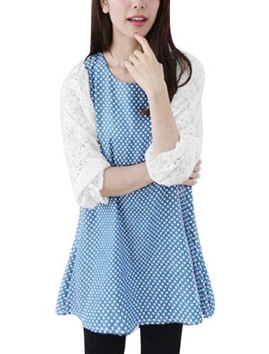 Femme dentelle et manches 3/4 Motif Patchwork Tunique Dots Bleu Clair