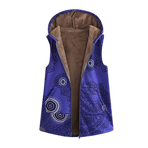 i-uend 2019 Damen Weste Mantel, Weinlese Winter warm Weste Mantel Übergröße Blumenmuster Outwear Mit Kapuze Ärmellose Jacke