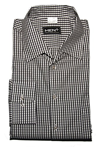 Herrenhemd auch in Übergröße Bügelleicht 100% Baumwolle Pflegeleicht Kariert Langarm Variokragen mit Tasche (47/48, Schwarz) (Tasche 47)