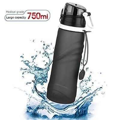 Tabiger Silikon Faltbare Wasserflasche, Trinkflasche, Flasche, Sicher und Auslaufsicher (4 Farben: Schwarz, Orange, Violett, Blau)