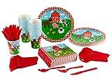 Set di stoviglie usa e getta–Farm Animal 24-set Paper–Stoviglie per feste per bambini, di compleanno e tra cui coltelli, cucchiai, forchette, piatti, tovaglioli e bicchieri, animali della fattoria