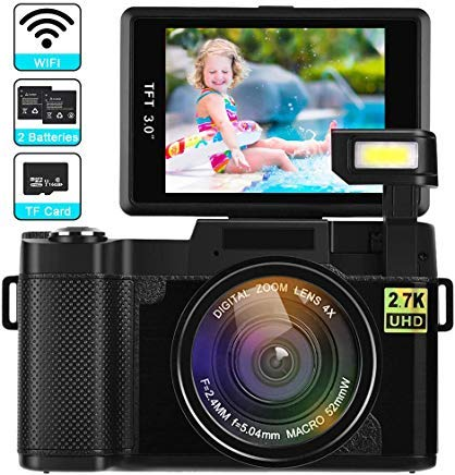 DIWUER Digital Camera with WiFi 24MP 2.7K HD Video Camcorder 3 Inch Flip Screen Vlogging Camera with Flashlight, 16GB SD Card and 2 Batteries