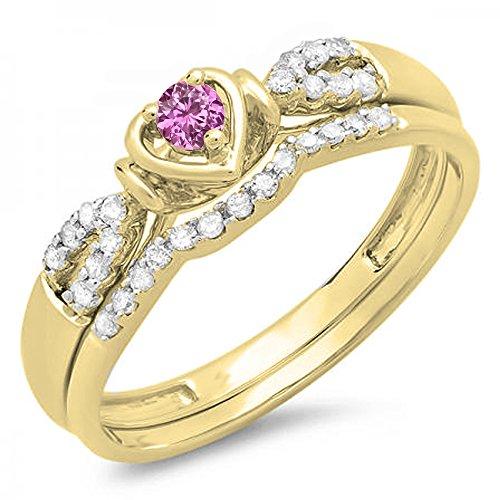 Damen Ring / Ehering 10 Karat Gelbgold Rosa Saphir Diamant Heart Shaped Verlobungsring Ehering Set