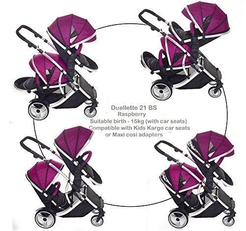 Kidz Kargo - Passeggino doppio/tandem per neonati, navicella, Sistema da viaggio convertibile