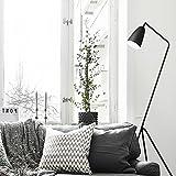 Diolumia - Lampadaire Martin design trépied - Métal noir - Abat-jour conique - H150cm - Lampadaire de lecture pour salon chambre cuisine bureau.