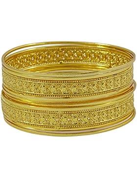 Matra Traditionelles indisches Goldplated 6 PC Kada Armband Armband gesetzte Frauen Schmuck Sachen 2*12