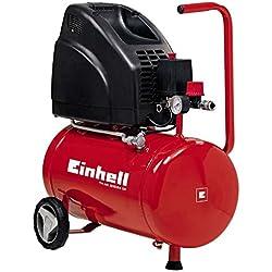 Einhell TH-AC 200/24 OF - Compresor de aire, 8 bar, depósito 24 l, aspiración 140 l /min, 1100 W, 230 V, color rojo y negro