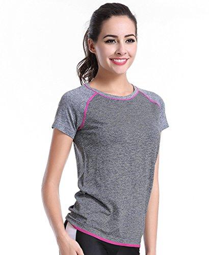 Qutool T-shirt pour femme Entraînement sportif et Yoga moyen 2Grey