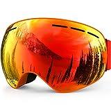 ZIONOR Lagopus X Motoneige Snowboard Ski Patinage Masques et lunettes avec détachable Lens et Grand Angle anti-buée Big sphérique professionnel unisexe Masque de ski (Orange)