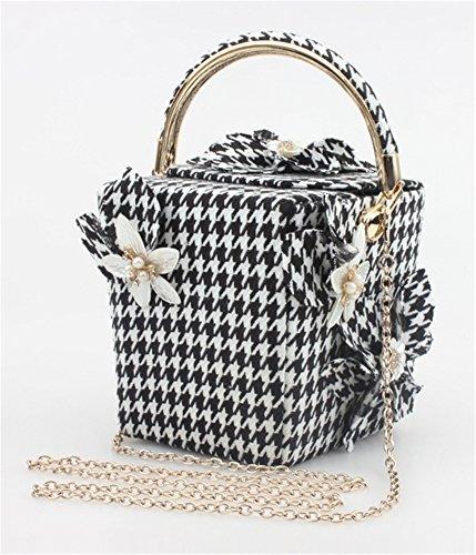 Good Night Borsa a tracolla Donna Fiore Nuovo stile plaid scatola di sera della borsa con maniglia superiore Houndstooth
