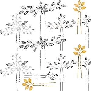 12 Stücke Hochzeit Braut Haarnadeln Kristall Perlen Blatt Haarnadeln Strass Haarspangen für Frauen und Mädchen