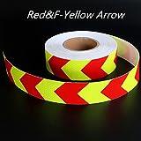 muchkey® de alta intensidad grado Lima cinta reflectante señal de advertencia de cinta reflectibe flecha orientación cinta 5cm x 3m (amarillo + rojo)