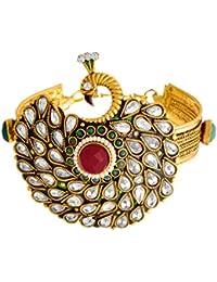 JFL - Traditional & Ethnic One Gram Gold Plated Meenakari Peacock Designer Openable Kada Studded With Austrian...