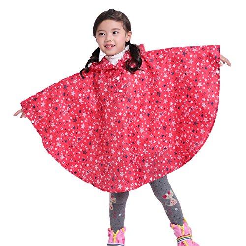 Riutilizzabile poncho impermeabile bambini incappucciati pioggia giacca leggero bambino per unisex stella rossa/s
