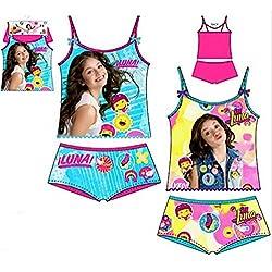 Pack de 2 conjuntos niña (camisetas y braguitas) 2 diferentes modelos diseño SOY LUNA (Disney) 100% algodon (6/8 años)