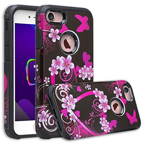 Galaxy IPhone 7 Case, iPhone 7 [Shock Absorption/Impact Resistant] Hybrid Dual Layer Armor Defender Protective Case Cover for iPhone 7, (Hot Pink Hearts)